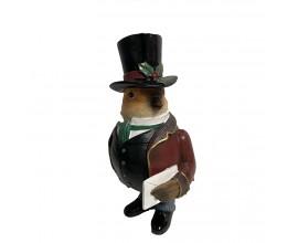 Keramická soška Vrabec Peter s elegantným klobúčikom vám bude niesť len dobré správy