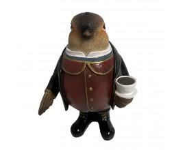 Keramická soška Vrabec Henry si bude vo vašej domácnosti vychutnávať svoj poobedný čajíček