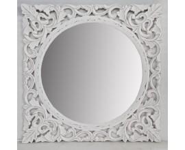 Biele dizajnové nástenné zrkadlo Henrietta s ručne vyrezávaným dreveným rámom 130cm