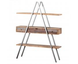 Industriálny drevený regál Bessie s troma zásuvkami s kovovými nožičkami v tvare A 180cm