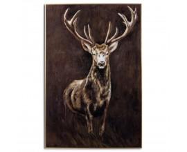 Luxusný zasklený obraz Royal Stag v zlatom ráme 150x100