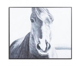 Ručne maľovaný obraz Kôň s čiernym dreveným rámom 100x120