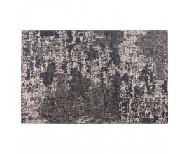 Jedinečný béžový vintage obdĺžnikový koberec Solapur s abstraktným vzorom čiernej farby