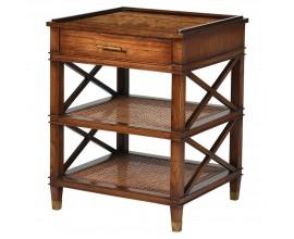 Koloniálny príručný stolík Dark Rich z masívu so zásuvkou a úložným priestorom 76cm