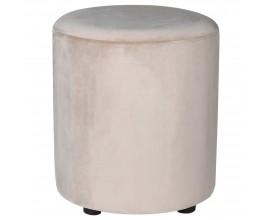 Štýlová okrúhla taburetka s minimalistickým tvarom s béžovým zamatovým poťahom a čiernymi okrúhlymi nohami 45 cm