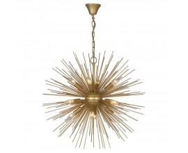 Art-deco luster Starburst v zlatej farbe z kovových lúčov 72 cm