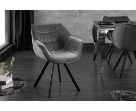 Štýlová zamatová stolička Antik sivá