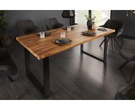 Industriálny dizajnový hnedý jedálenský stolík Steele Craft z masívneho dreva 180cm