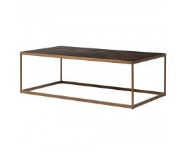 Art-deco luxusný konferenčný stolík Parketia z masívu so zlatou kovovou konštrukciou 135cm