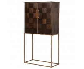 Art-deco luxusná barová skrinka Parketia z masívu a kovu 183cm