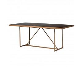 Art-deco masívny jedálenský stôl Parketia so zlatou kovovou konštrukciou 190cm