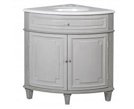 Rustikálna rohová drevená umývadlová skrinka Severia so zásuvkou a dvierkami bielej farby 90cm