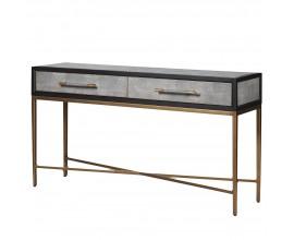 Art-deco konzolový stolík s dvoma zásuvkami na kovových nožičkách s koženým čalúnením