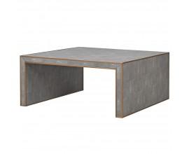 Art-deco štvorcový konferenčný stolík s koženým svetlosivým čalúnením