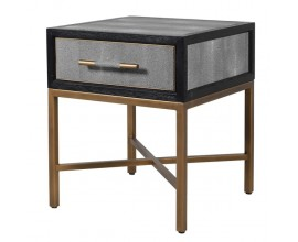 Art-Deco nočný stolík s povrchom z eko-kože v sivej farbe s kovovými nožičkami vo vintage zlatej