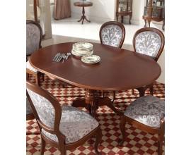 Luxusný okrúhly rustikálny klasický rozkladací jedálenský stôl CASTILLA Chippendale I 115-155cm ručne vyrezávaný