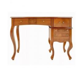 Luxusný rustikálny písací stolík CASTILLA chippendale z masívu so 4 zásuvkami