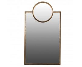 Art-deco nástenné zrkadlo Gold Rush v zlatom železnom ráme 158cm