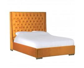 Luxusná manželská posteľ Senapa v horčicovej žltej farbe s Chesterfield prešívaním 210cm