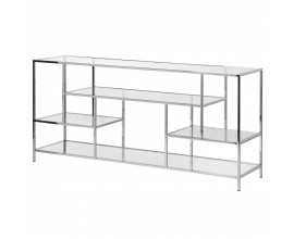Art-deco konzolový stolík s chrómovou konštrukciou a doskami zo skla 160 cm
