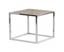 Moderný štvorcový príručný stolík Adelie z brestového dreva so striebornou kovovou konštrukciou 60cm