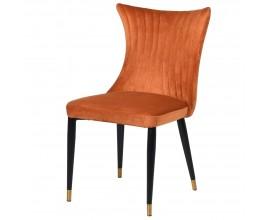 Art-deco jedálenská stolička Primadonna s oranžovým čalúnením s čiernymi nožičkami 87cm