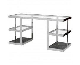 Art-deco chrómový pracovný stôl s doskou a poličkami zo skla a čierneho mramoru 150 cm