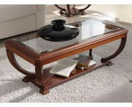Luxusný obdĺžnikový rustikálny konferenčný stolík RUSTICA presklený