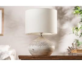Provensálska béžová nočná lampa Randera s terakotovou podstavou a jutovým tienidlom 43cm