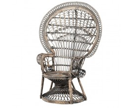 Ratanové ornamentálne kreslo Eladora s vysokým okrúhlym operadlom 150cm
