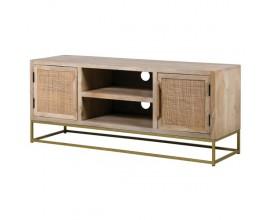 Exkluzívny Art-Deco TV stolík zo svetlohnedého masívu na zlatej kovovej podstave 130cm
