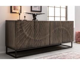 Art-deco luxusný príborník Cumbria z masívneho dreva v sivom odtieni 177cm