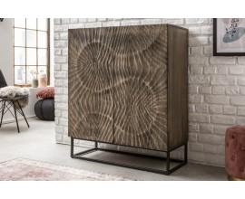 Art-deco luxusná vysoká skrinka Cumbria z masívneho akáciového dreva v sivom odtieni s kovovými nožičkami 100cm