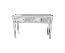 Art-deco zrkadlový konzolový stolík Padme s dvomi zásuvkami striebornej farby 130cm