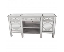 Art-deco luxusný zrkadlový televízny stolík Padme na nožičkách striebornej farby 140cm