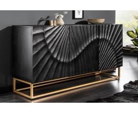 Art-deco luxusný príborník Cumbria v čiernom prevedení z masívneho mangového dreva a zlatými nožičkami 140cm
