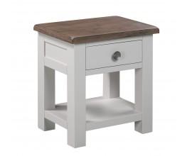 Provensálsky nočný stolík Escapia z masívneho dreva v off-white odtieni s hnedou povrchovou doskou 60cm