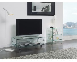 Dizajnový sklenený TV stolík Cristallere na kolieskach s úložným priestorom 100cm