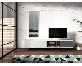 Moderný TV stolík Chrysler v lesklom bielom prevedení so sivými zásuvkami s čiernymi nožičkami 240cm