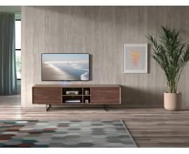 Dizajnový TV stolík Chrysler v hnedej farbe s úložným priestorom s čiernymi nožičkami 180cm
