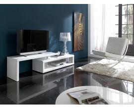 Moderný TV stolík Henning v lesklej bielej farbe s nastaviteľnou vrchnou doskou 200cm