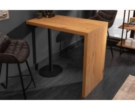 Dizajnový barový stolík Nagos hnedej farby s čiernou kovovou nohou120cm