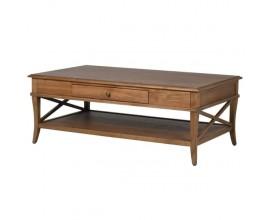Vidiecky konferenčný stolík so zásuvkou z prírodného masívu 120cm