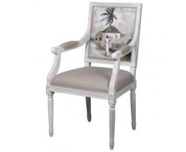 Rustikálna jedálenská stolička Wiltshire v off-white odtieni s ručne maľovaným operadlom 101cm