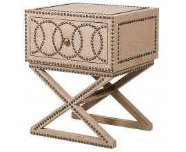 Moderný exkluzívny nočný stolík Circula Crema v béžovej farbe s geometrickým zdobením a zásuvkou 60cm