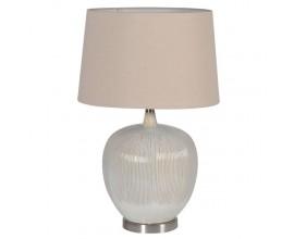 Elegantná stolová lampa v béžovej farbe s ľanovým tienidlom
