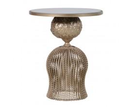 Art-deco okrúhly príručný stolík Perila so zlatou kovovou zdobenou konštrukciou a sklenenou povrchovou doskou 60cn