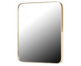 Moderné závesné zrkadlo Viviane zlatej farby s obdĺžnikovým kovovým rámom so zaoblenými rohami
