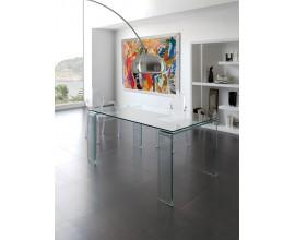 Dizajnový sklenený jedálenský stôl Cristallere so sklenenými nožičkami 160cm