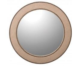 Moderné okrúhle nástenné zrkadlo Circula Crema béžovej farby s kovovými cvokmi 80cm